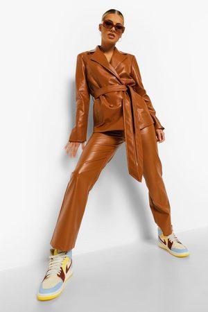 Boohoo Femme Pantalons en cuir - Pantalon Droit Effet Cuir