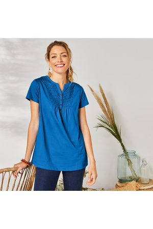 Colors & co Tee-shirt boutonné broderie anglaise