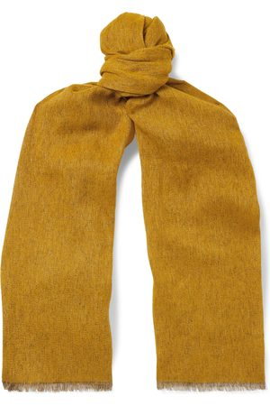 Loro Piana Fringed Mélange Baby Cashmere and Linen-Blend Scarf