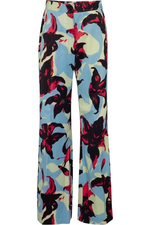 DRIES VAN NOTEN Pantalon ample en satin à fleurs