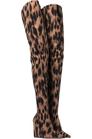 Amina Muaddi Cuissardes compensées Danielle à motif léopard
