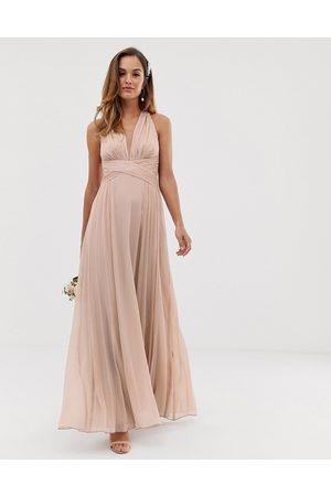 ASOS Robe longue drapée pour demoiselle d'honneur avec corsage froncé et effet croisé à la taille