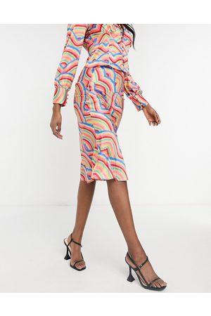 Never Fully Dressed Jupe fourreau d'ensemble en satin à motif arc-en-ciel