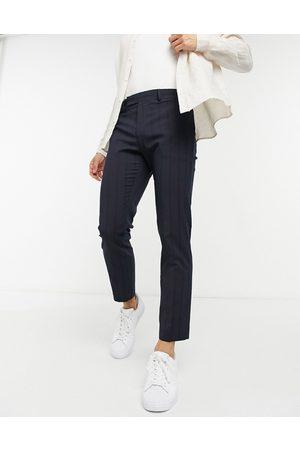 ASOS Pantalon habillé ajusté longueur cheville et à nervures - marine