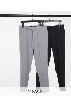 ASOS Lot de 2 pantalons ajustés - Noir et gris