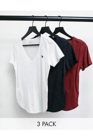 Abercrombie & Fitch Lot de 3 t-shirts col en V avec manches courtes et logo