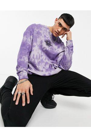 ASOS T-shirt oversize à manches longues effet tie-dye avec broderie