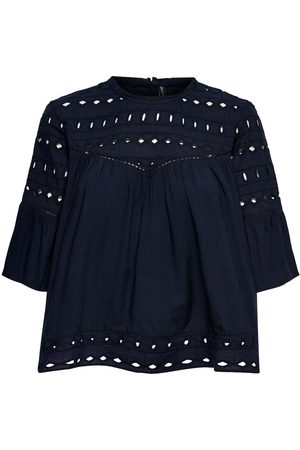 Only Broderie Anglaise Top À Manches Courtes Women Blue