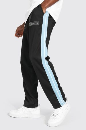 Boohoo Loose Fit Tricot Joggers With Side Tape Homme