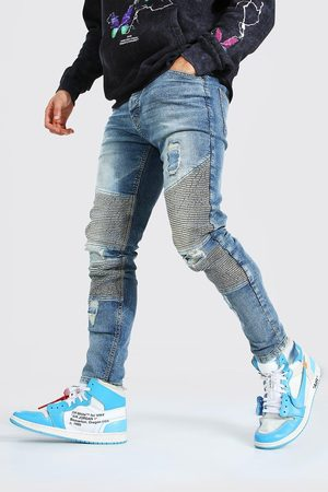 Boohoo Skinny Stretch Biker Jean With Distressing Homme
