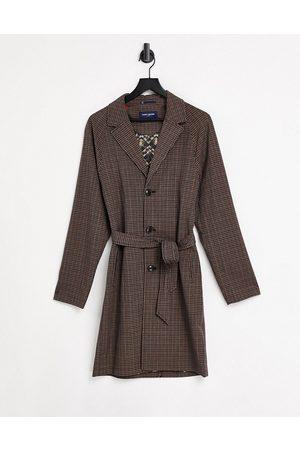 Harry Brown Manteau long à ceinture et à carreaux vichy