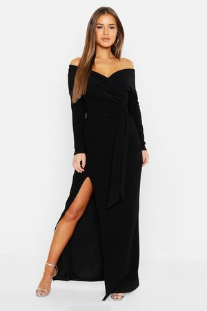 boohoo Femme Robes longues - Robe Maxi Fendue À Épaules Dénudées Petite