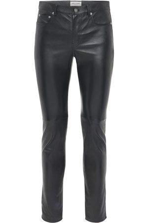 Saint Laurent Pantalon Skinny En Cuir 15,5 Cm