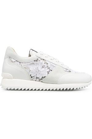 Le Silla Lace-embroidered leather sneakers