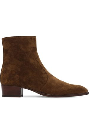 "Saint Laurent Bottes En Daim ""wyatt"" 40 Mm"