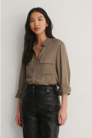 NA-KD Femme Chemisiers - Soft Double Pocket Shirt - Brown