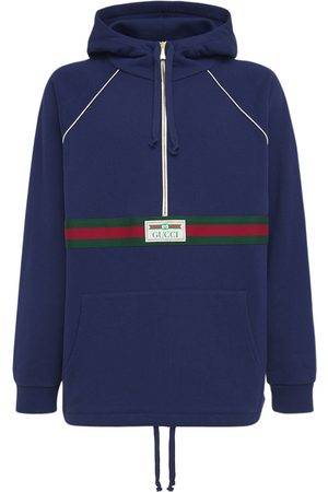 Gucci Sweat-shirt Zippé En Coton Détail Logo Web