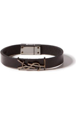 Saint Laurent Bracelet en cuir à plaque logo YSL