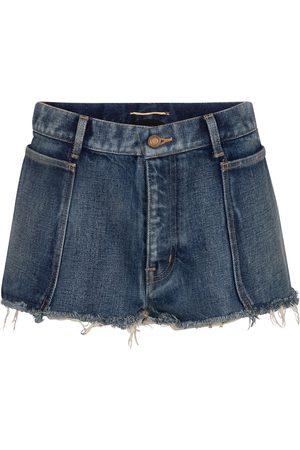 Saint Laurent Short à taille basse en jean