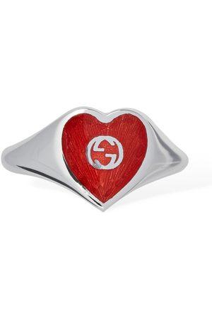 Gucci Bague Coeur En Émail Logo Gg