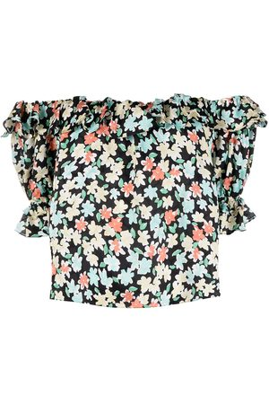 Saint Laurent Floral print off-the-shoulder blouse