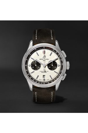 Breitling Homme Montres - Premier B01 Automatic Chronograph 42mm Stainless Steel and Nubuck Watch, Ref. No. AB0118221G1X1