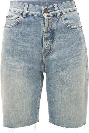 SAINT LAURENT Femme Shorts - Bermuda En Denim De Coton
