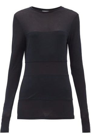 Raey Femme Manches longues - T-shirt manches longues transparent à empiècement