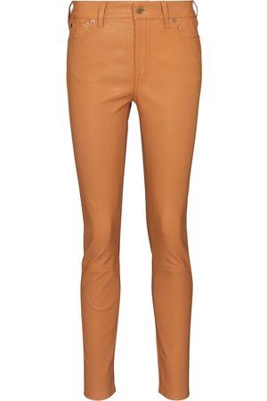 Polo Ralph Lauren Pantalon slim à taille haute en cuir