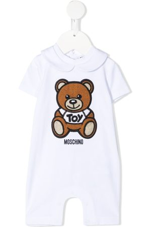 Moschino Kids Teddy embroidery stretch-cotton romper