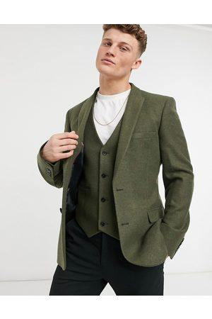ASOS DESIGN Veste de costume ajustée en sergé de laine mélangée - Kaki