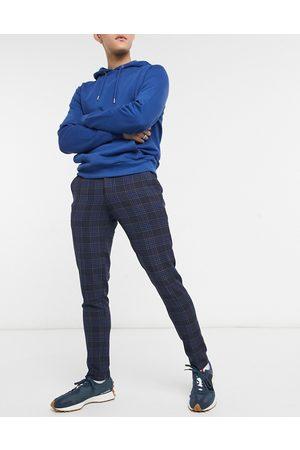 ASOS DESIGN Birdseye - Pantalon de costume super skinny à carreaux - marine