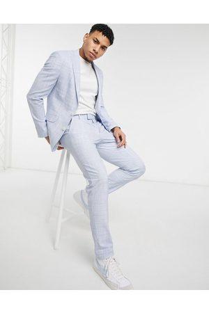 ASOS DESIGN Wedding - Pantalon de costume ajusté effet hachuré - pastel
