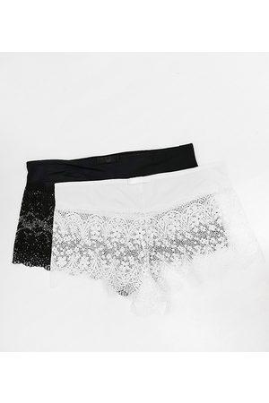 Simply Be Lottie - Lot de 2 culottes en dentelle - Noir et blanc