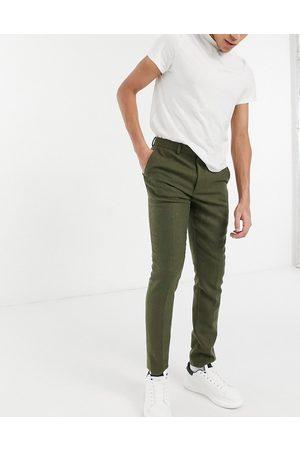 ASOS DESIGN Pantalon de costume ajusté en sergé de laine mélangée - Kaki