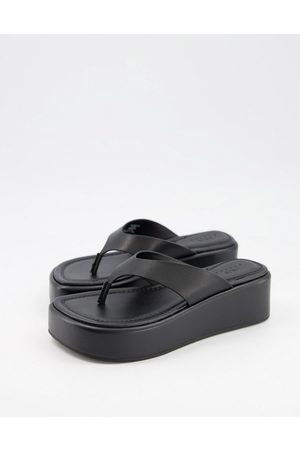 ASOS Target - Sandales plateforme plates en cuir de qualité supérieure avec entredoigt