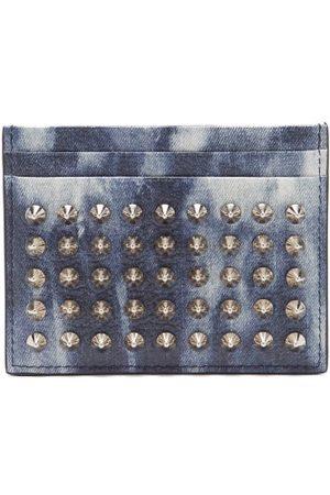 Christian Louboutin Porte-cartes en cuir effet denim à picots