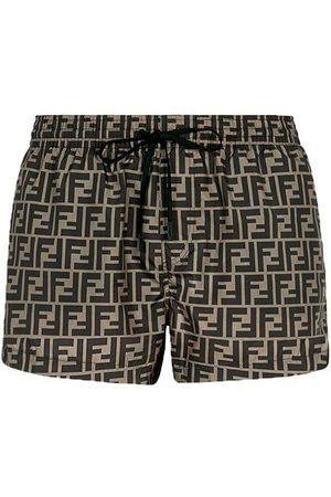 Fendi Homme Shorts de bain - Short en tissu marron