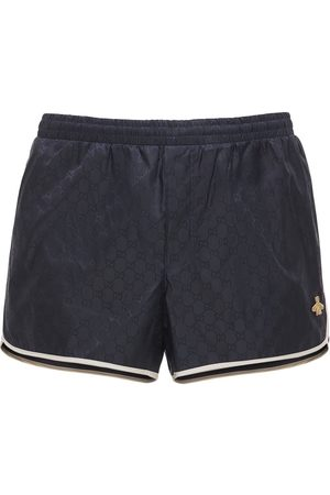 Gucci Short De Bain En Nylon Motif Gg Avec Patch Abeille