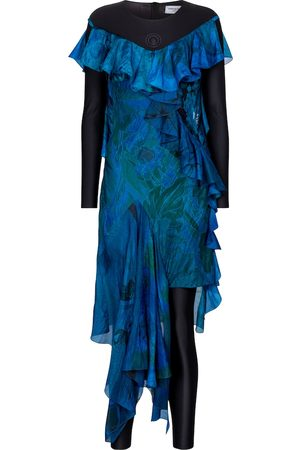 Marine Serre Exclusivité Mytheresa – Robe asymétrique imprimée en soie
