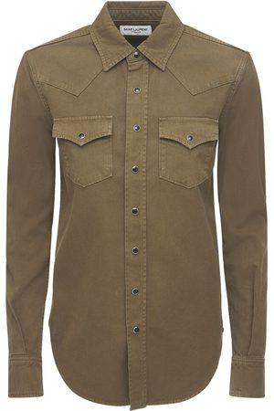 Saint Laurent Chemise Style Western En Denim De Coton