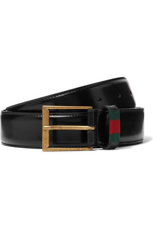 adidas Homme Ceintures - 3.5cm Webbing-Trimmed Polished-Leather Belt