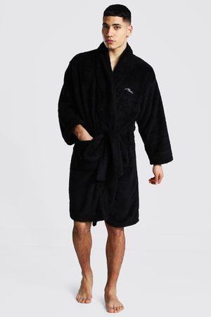 Boohooman Man Signature Fleece Dressing Gown Homme