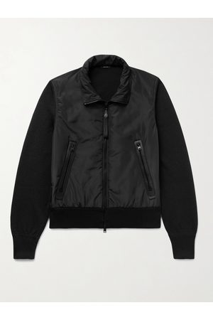 Tom Ford Leather-Trimmed Wool and Shell Blouson Jacket