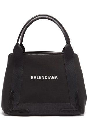 Balenciaga Femme Cabas - Sac en toile et cuir à imprimé logo Cabas S