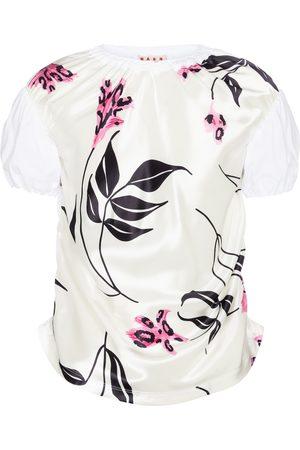 Marni T-shirt en satin et coton à fleurs