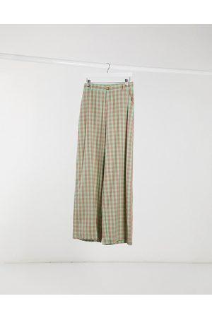 Daisy Street Pantalon taille haute coupe décontractée à carreaux