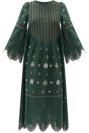 VITA KIN Femme Robes midi - Robe midi en lin à broderie anglaise Jacqueline