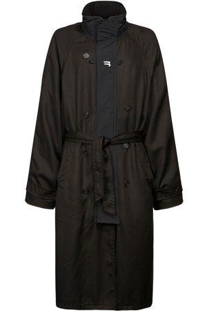 Balenciaga Trench-coat En Gabardine Technique Imprimé B