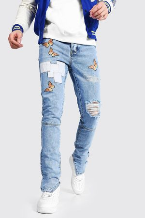 Boohoo Tall Skinny Butterfly Jean With Knee Rip Homme